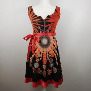 Desigual sz 4 sleeveless belted a line dress red